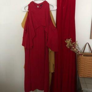 Red Eloquii Flutter Sleeve Dress